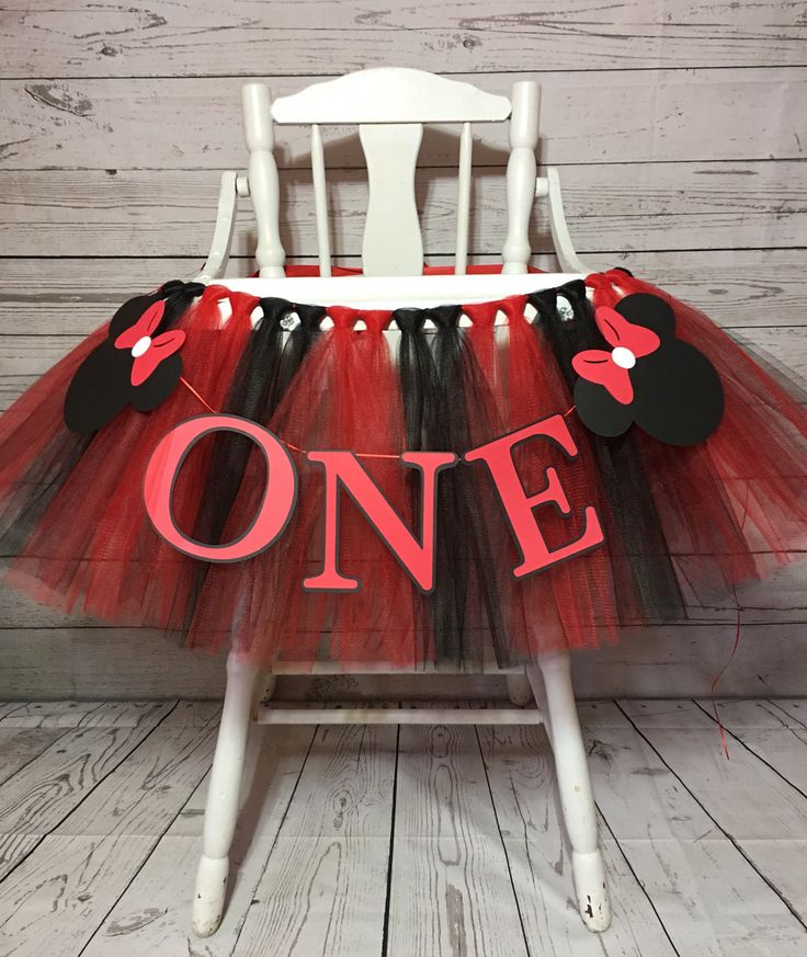 Minnie Mouse High Chair Tutu - Red and Black  HighChair Tutu- Highchair Banner- High Chair Banner- Minnie Mouse First Birthday- Minnie tutu by AvaryMaeInspirations on Etsy