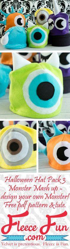 Easy Fleece Hat tutorial {free pattern} Monster Mash up ♥ Fleece Fun. #costume #sew #halloween