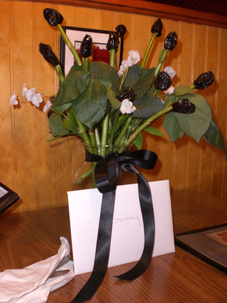 Over The Hill Birthday Flowers Made With Prunes