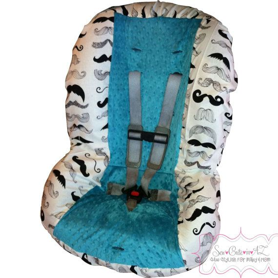 Wheres My Stache Toddler Car Seat Cover by sewcuteinaz on Etsy, $40.00