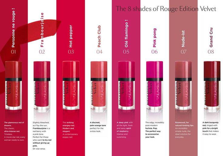 The 8 shades of Bourjois Rouge Edition Velvet matte lipsticks
