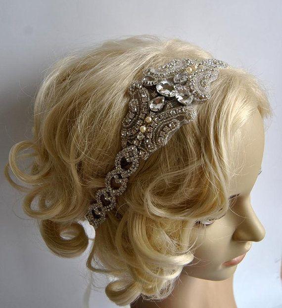 Rhinestone 1920s Headpiece,Flapper Headpiece,bridal headband piece, Rhinestone beaded headpiece,The Great Gatsby Headband