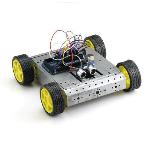 RioRand Sensor Shield V5 + Mega2560 + 4WD Drive Aluminum Mobile Robot Platform+ Dual H Bridge Stepper Motor Driver + Hc-sr04, Ultrasonic Distance Sensor for Arduino UNO Mega R3 Mega2560 Duemilanove Nano Robot