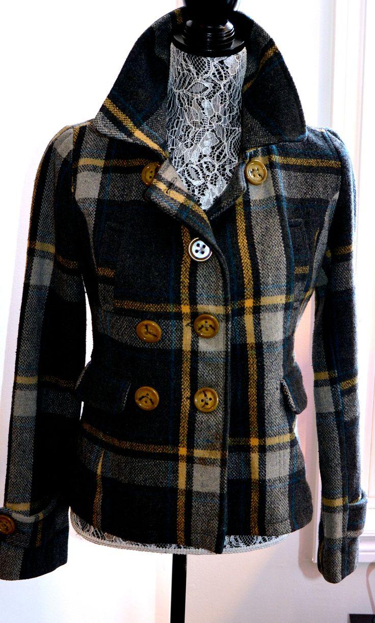Yellow & Black Plaid Short Waist Coat