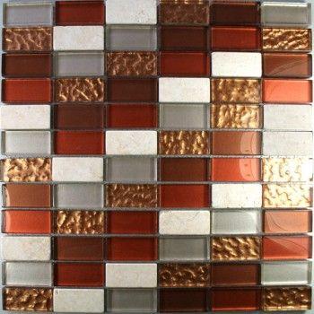 Glas Marmor Mosaik Fliesen 23x48x8mm Rot Mix