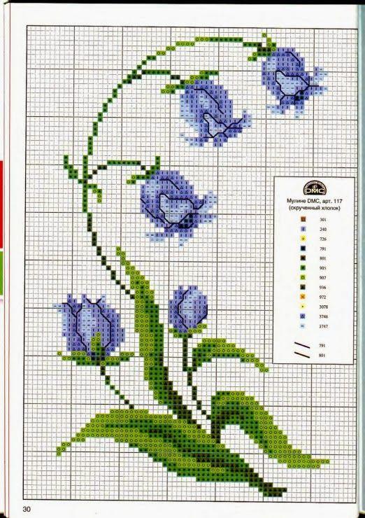 Ricami, lavori e schemi a puntocroce gratuiti: Raccolta di schemi a punto croce: fiori per la casa