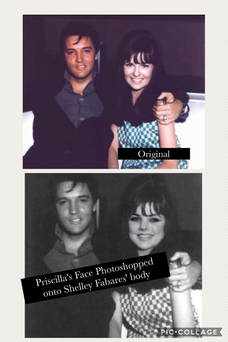 Bottom fake priscilla s face has been photoshopped onto shelley fabares body in an original photo of elvis and shelley