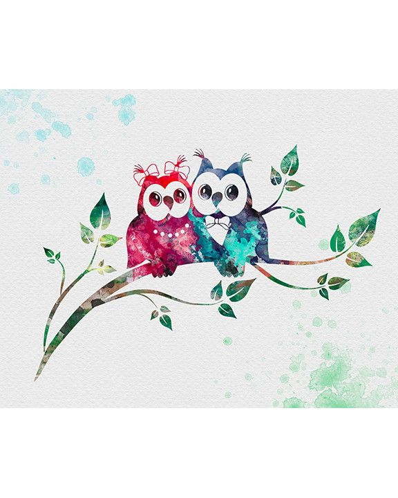 Owls Watercolor Art