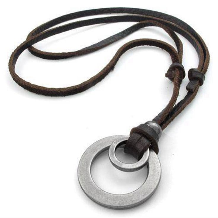 Genuine Leather Men Necklace Vintage Brown Men Chain Necklace Jewelry Pendant Male Accessories