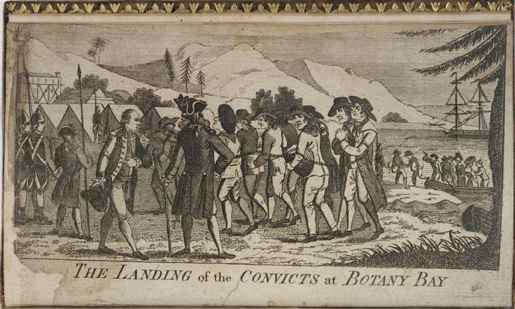'The landing of the convicts at Botany Bay', engraving from Watkin Tench's book, A Narrative of the Expedition to Botany Bay (1789). Dixson Library, State Library of New South Wales: http://library.sl.nsw.gov.au/record=b2025551