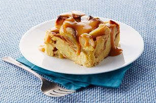 Slow cooker apple bread pudding with warn butterscotch sauce