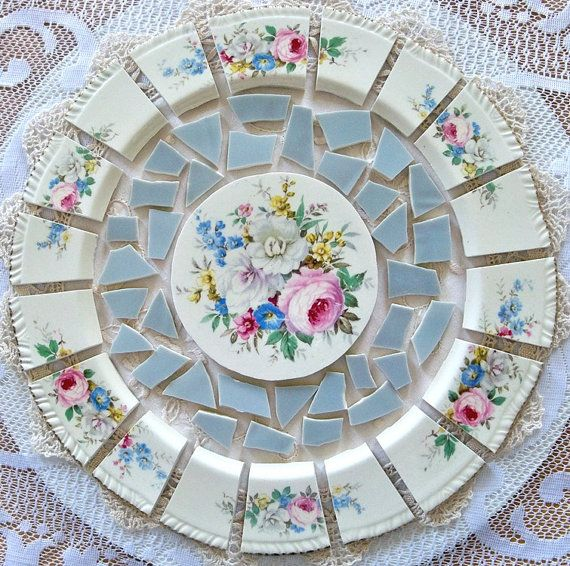Mosaic Tiles Arrangement Shabby Chic Cut From By