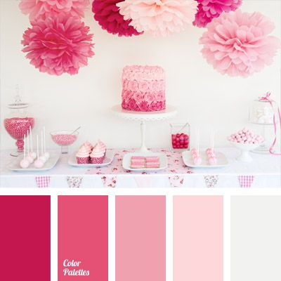 The palette simply dazzles with shades of pink. Traditional (at first glance) combination of colors gets a new life thanks to the presence of intense crimson. This color scheme is appropriate for youth party decoration, as well as these colors will look good in the evening dress of the lady of the house.