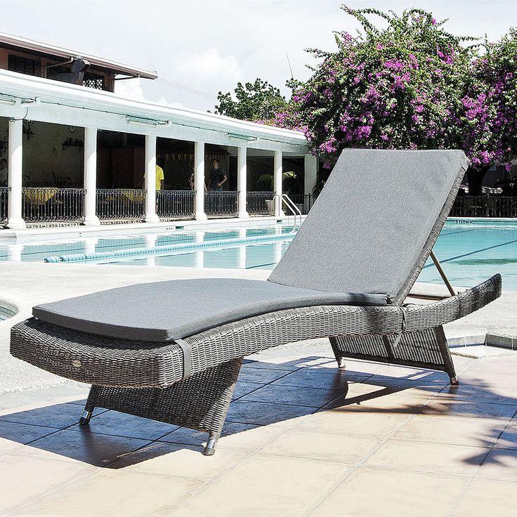 cane handwoven pool outdoor furniture rattan beach lounge chair wicker sunlounger