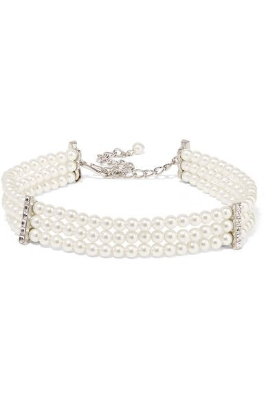 Kenneth Jay Lane - Silver-plated, Faux Pearl And Crystal Choker - White - one size
