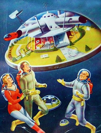 1953 ( space station / rocket ship / space age / atomic age / retro futurism / vintage future / outer space