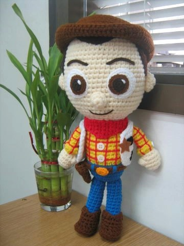 woody from the toy story cartoon doll crochet disney by miranmani, $60.00