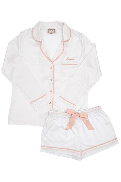 502fcf702dd Personalised HA Sleep Satin Luxe Long Sleeve Short Pyjama Set - White Blush