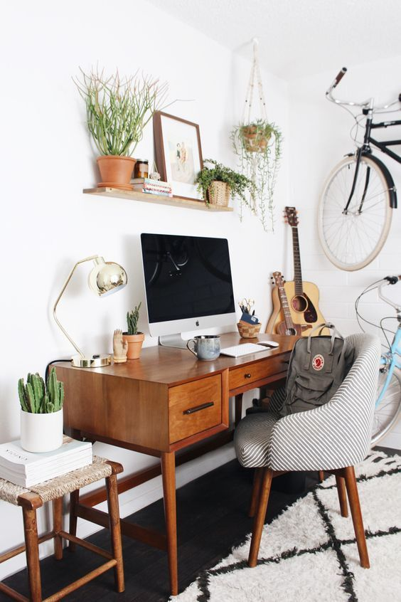 mid century modern home office workspace.