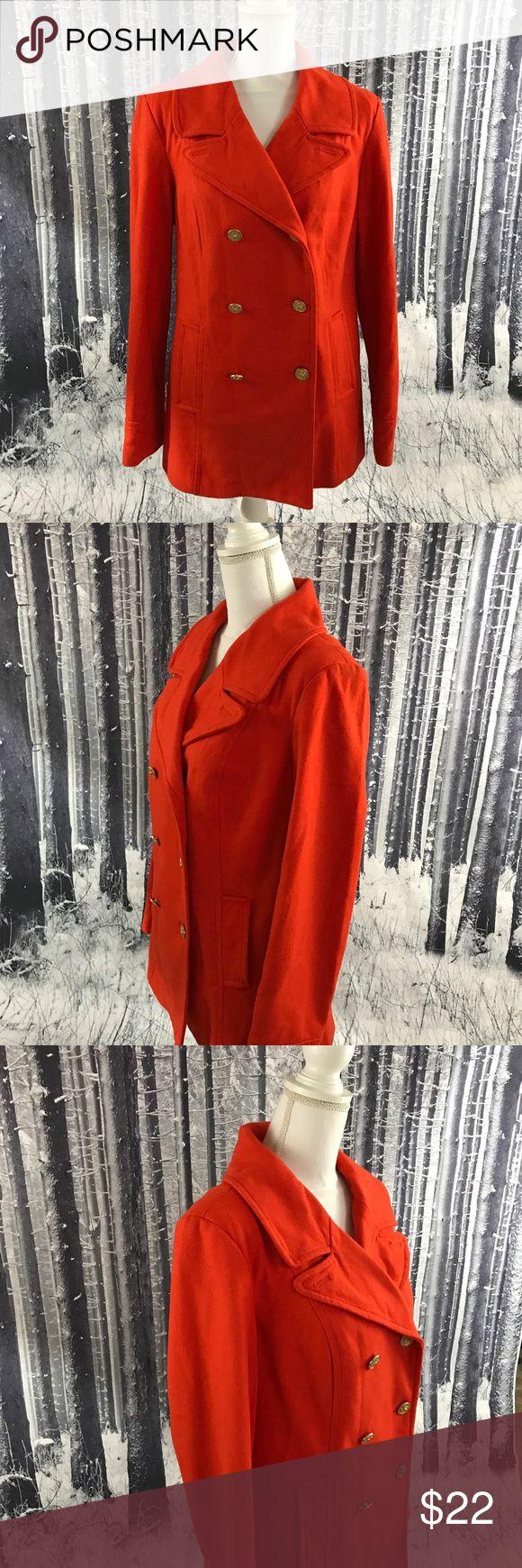 Orange Old Navy size large pea coat. Orange Old Navy pea coat in good used condition. Size large. Top of shoulder to bottom of hem approximately 28.  Underarm to underarm approximately 21.  Sleeve length approximately 25 1/2.    (539) Old Navy Jackets & Coats Pea Coats