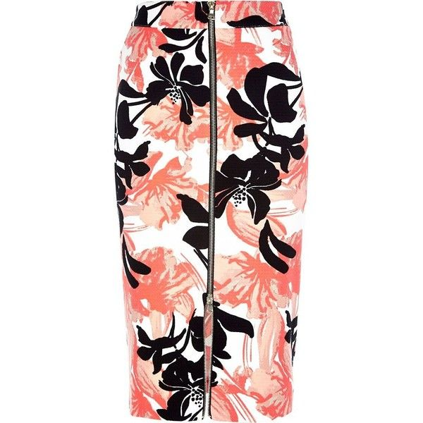 River Island Coral floral print zip front pencil skirt found on Polyvore