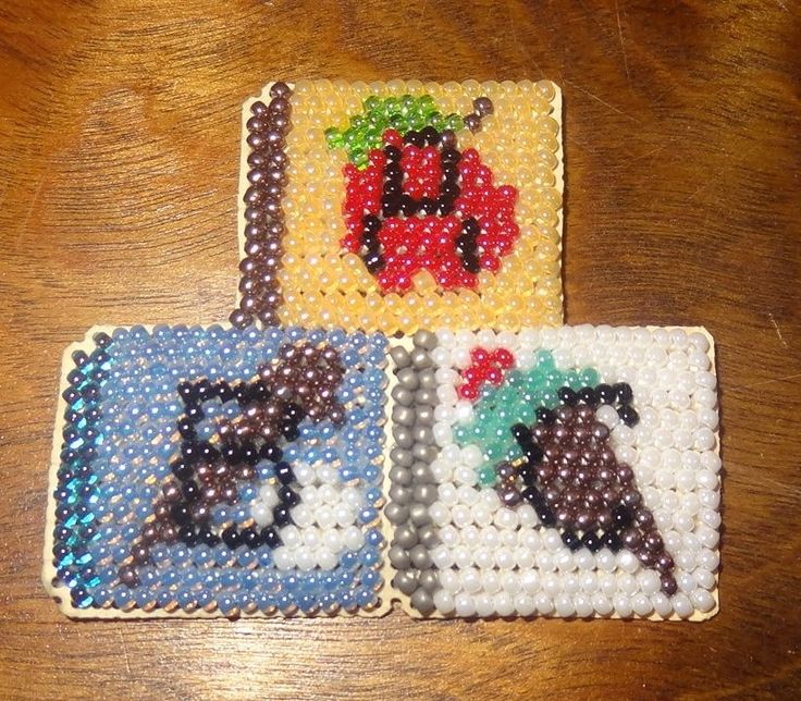 Fridge Magnet ABC Blocks Beaded Handmade Glass Beads Finished Mill Hill School