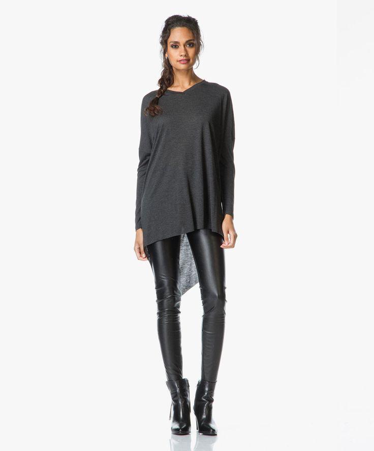 Drykorn Winch Skinny Broek in Leer-Look  - Zwart