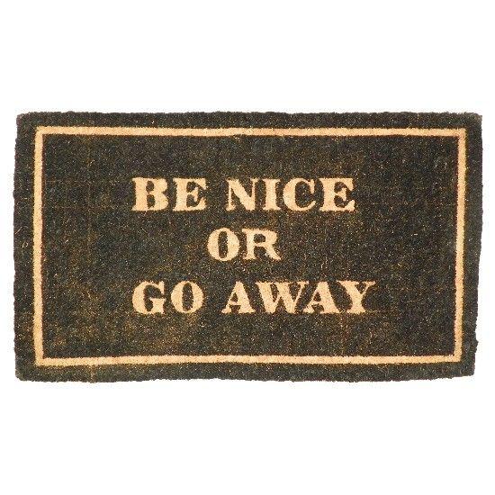 Originele kokos deurmat be nice, kokosmat be nice or go away