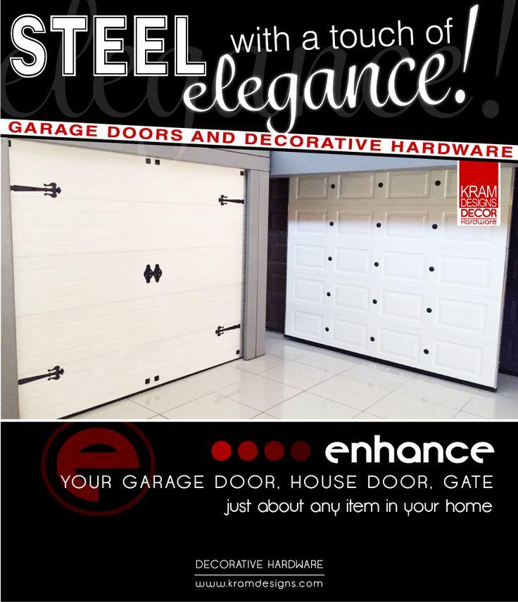 Transform your Steel Garage Door with Kram Designs Decor Hardware.