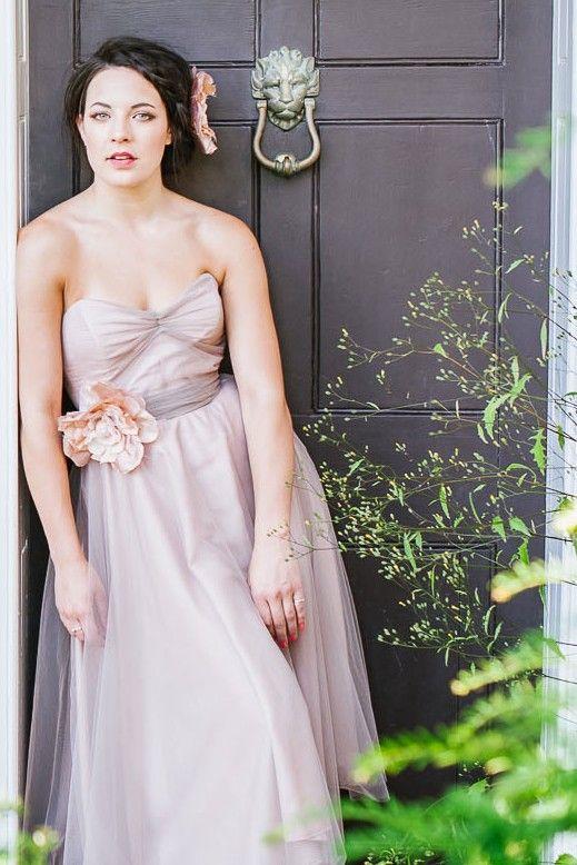 Tea Rose bridesmaid dress by Agape Atelier. A softly gathered bodice and tea length full tulle skirt.