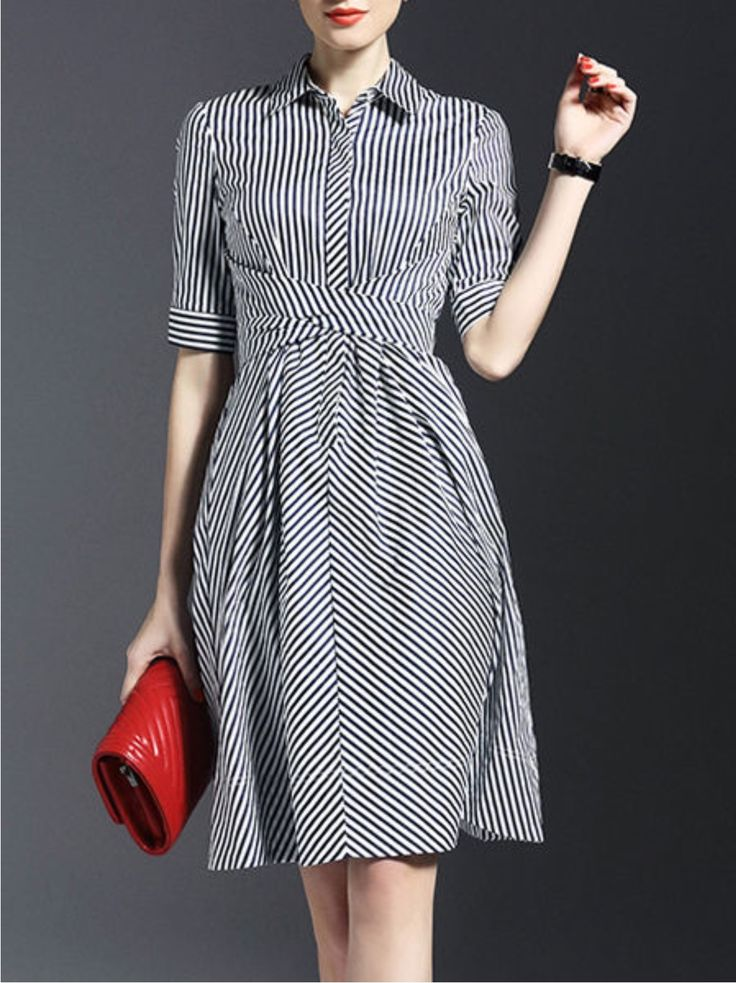 Bow Stripes Shirt Dress Lonuash  (92.00) https://www.stylewe.com/product/bow-stripes-shirt-dress-29139.html