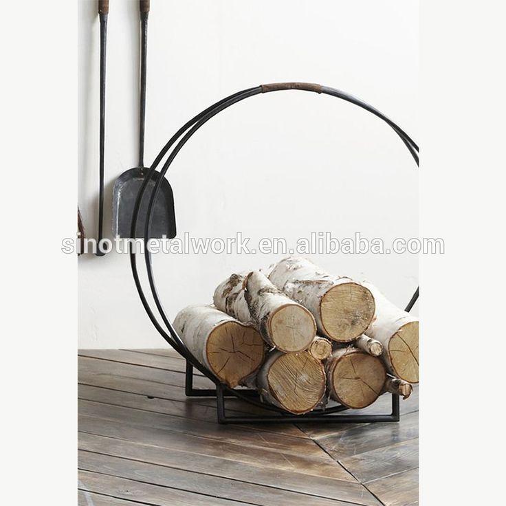 Decoratieve ronde custom brandhout opbergrek met goede kwaliteit smeedijzeren log houder metalen brand log mand