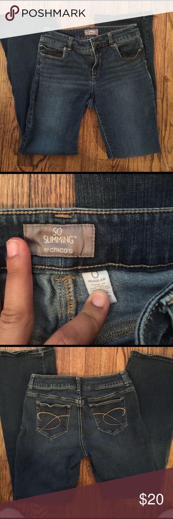 """Chico jeans """"so slimming"""" Chicos jeans size 0. In good used condition no rips or holes. So slimming style. Good stretch to these jeans Chico's Jeans Flare & Wide Leg"""