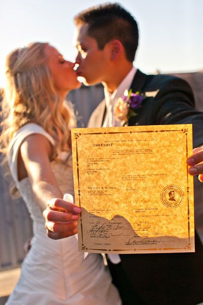 Take a photo with your marriage license.