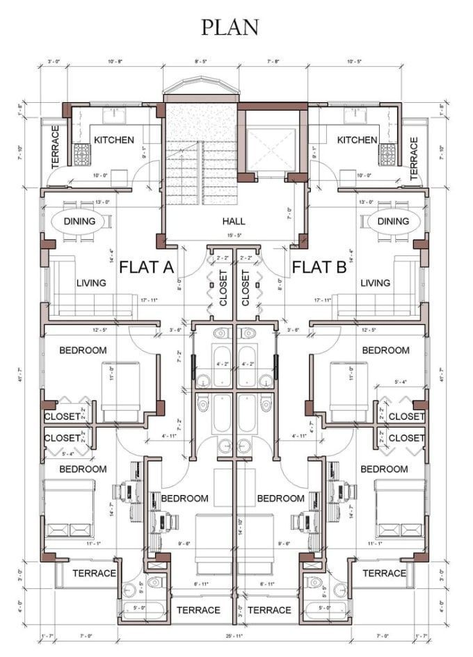Modern Architecture Autocad Drawing Floor Plans Autocad Drawing Floor Plans In 2020 Floor Plan Design Architectural Floor Plans Residential Building Plan