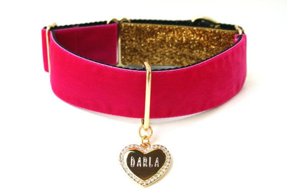 Custom Dog Collar 1.5 Hot Pink and Gold Martingale by Wagologie, $40.00  OMG! Love!!!!