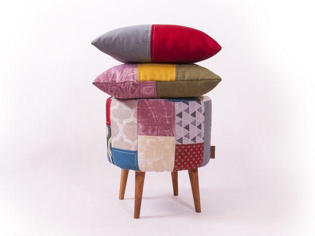 Oryginalny zestaw - Pufa + 2 poduszki PATCHWORK - CuscinoDesign - Pufy