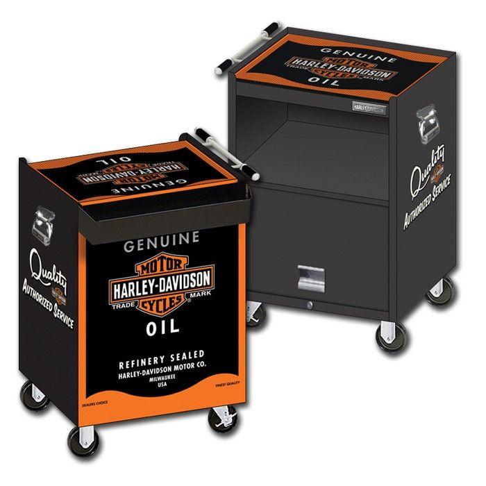 Harley-Davidson® Oil Can Beverage Cart http://www.bikerathome.com/index.php/speciality/beverage-cart/harley-davidson-oil-can-beverage-cart.html