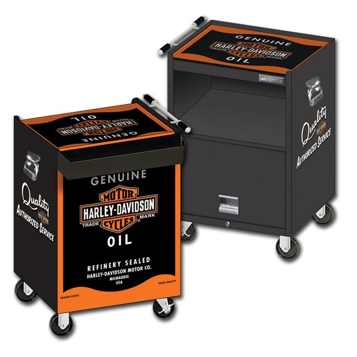 Harley-Davidson® Oil Can Beverage Cart http://www.bikerathome.com/index.php/speciality/beverage-cart/harley-davidson-oil-can-beverage-cart.html