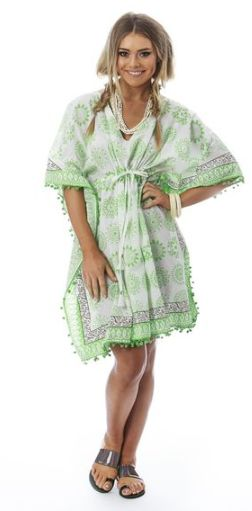 Kaftan crazy in this green pompom edge with a drawstring waist ..summer days down the beach.