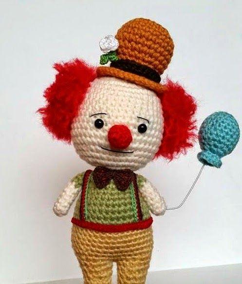Clown Doll - Free Amigurumi Pattern here: http://www.amidorablecrochet.ca/2014/09/clown-pattern.html#.VBspBVdQB8g