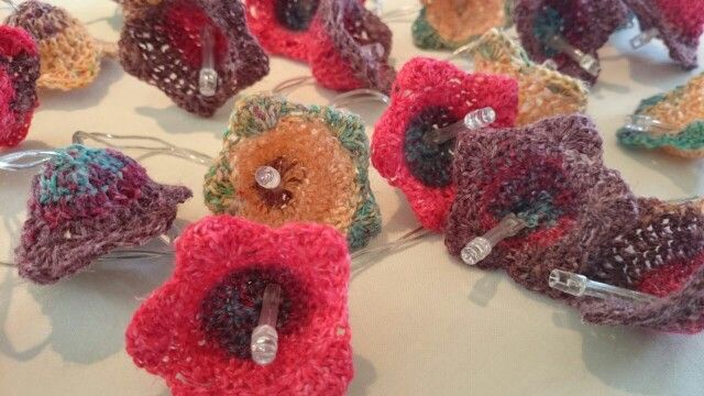 Crochet flower string lights