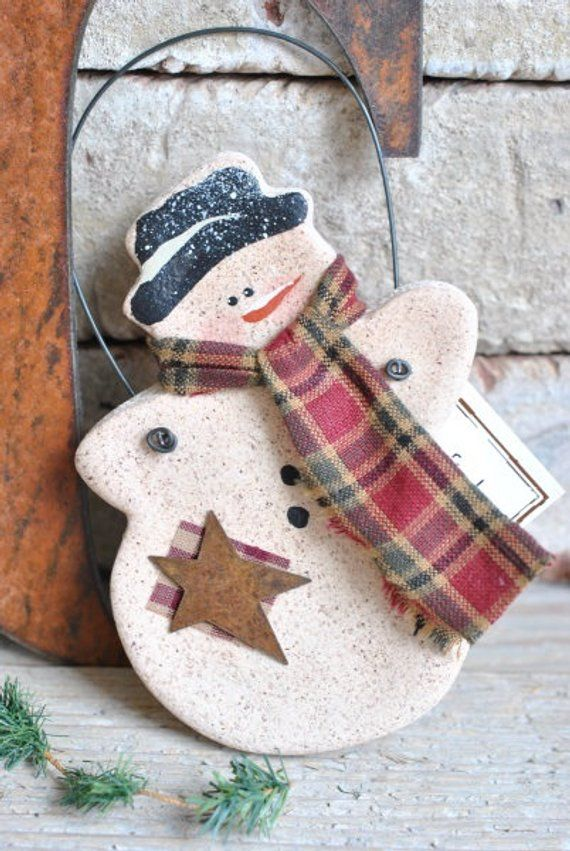 Primitive Cinnamon Snowman Salt Dough Christmas / Winter Ornament Rustic Holiday Decor