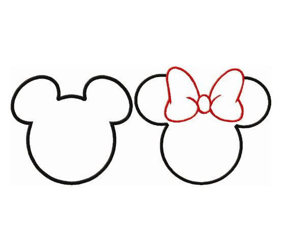 Mickey And Minne Mouse Ears Head Applique