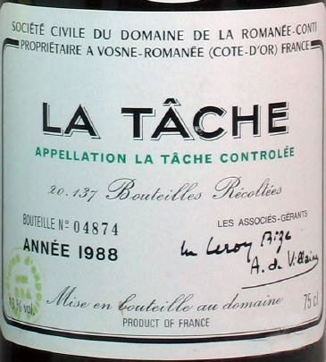 "1988 Domaine de la Romanee-Conti La Tache Grand Cru, Burgundy  You don't get very far in a journey towards being a wine lover without hearing the words ""Romanée-Conti"" spoken with some combination of reverence and amazement. And in today's world of Asian fueled wine-auction speculation, even those with casual interest in wine have heard of this famous domaine. Equally referred to as both the best wines in the world and the most expensive, the wines...: Drc"