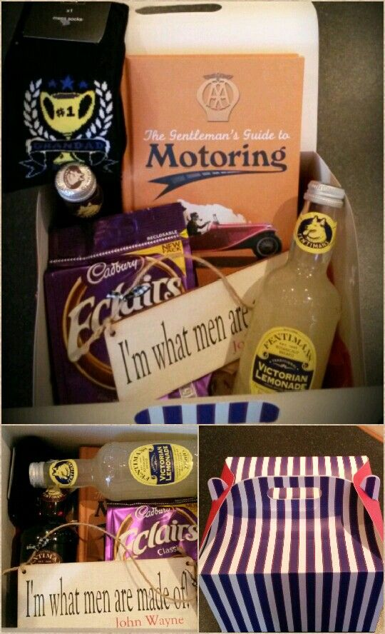 Fathers Day gift box for Grandad - butter biscuits, traditional lemonade and dandelion and burdock, socks, eclairs, personalised plaque from maggiwoodartsigns and a motoring book