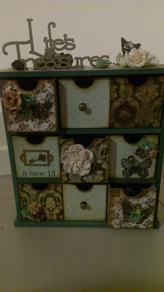 """I enjoyed making this for a couple that were married recently.  I filled the drawers with chocolates, bubblebath, scented candles, oils, soaps.  """"A true romantic experience!"""""""