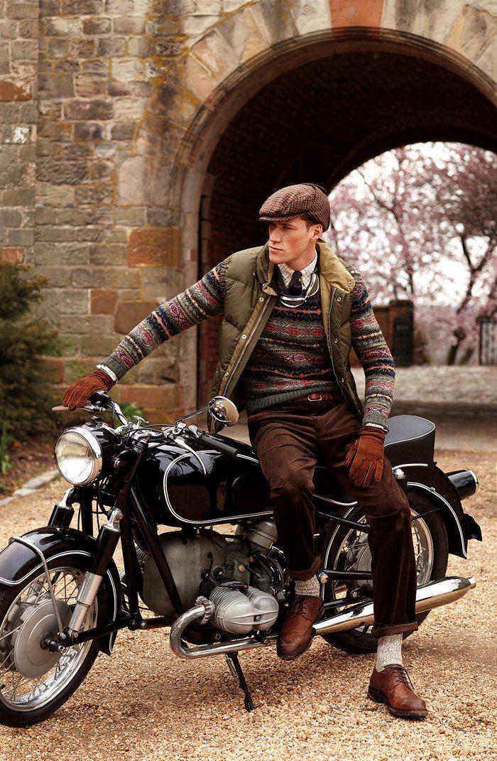 Classic bike, shetland sweater, heavy socks, cords and tweed hat
