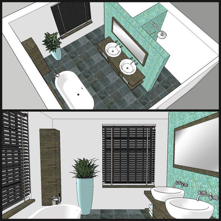 Optional können Sie das Waschbecken an der Wand der Dusche