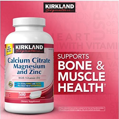 Kirkland Signature Calcium Citrate 500mg , 500 Tablets (250 Tables x 2) with Vitamin D3, Magnesium & Zinc  //Price: $ & FREE Shipping //     #health